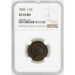 1828 Classic Head 1/2 Cent Coin NGC XF45BN