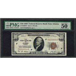 1929 $10 Federal Bank of Atlanta Fr.1860-F Note PMG About Uncirculated 50