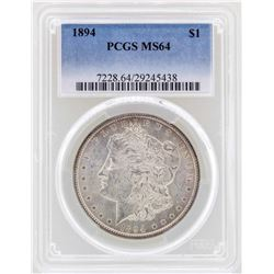 1894 $1 Morgan Silver Dollar Coin PCGS MS64