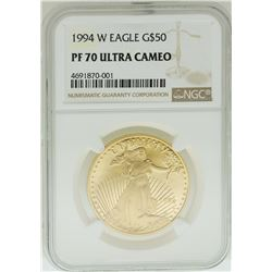 1994-W $50 American Gold Eagle Coin NGC PF70 Ultra Cameo