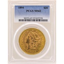 1894 $20 Liberty Head Double Eagle Gold Coin PCGS MS62