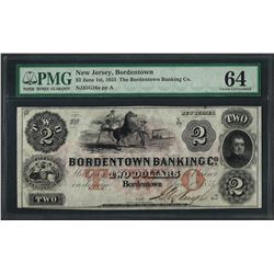 1855 $2 The Bordentown Banking Co. Obsolete Note PMG Choice Uncirculated 64