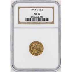 1914-D $2 1/2 Indian Head Quarter Eagle Gold Coin NGC MS60