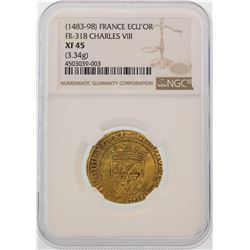 1483-98 France ECU'OR Charles VIII Gold Coin NGC XF45
