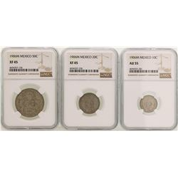 Lot of (3) 1906M Mexico Centavos Silver Coins NGC Graded