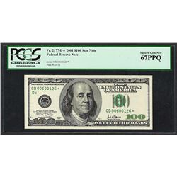 2001 $100 Federal Reserve STAR Note PCGS Superb Gem New 67PPQ