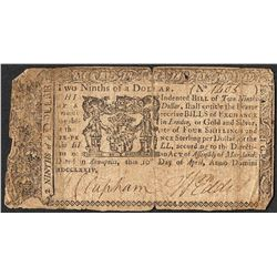April 10, 1774 $2/9 Maryland Colonial Currency Note