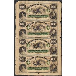 Uncut Sheet of 1800's $100 Citizens Bank of Louisiana Obsolete Notes