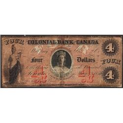 1859 $4 Colonial Bank of Canada Note