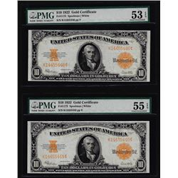 Lot of (2) Consecutive 1922 $10 Gold Certificate Notes PMG About Uncirculated 53