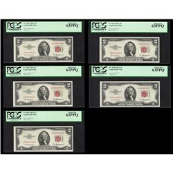 Lot of (5) Consecutive 1953A $2 Legal Tender Notes PCGS Choice New 63PPQ