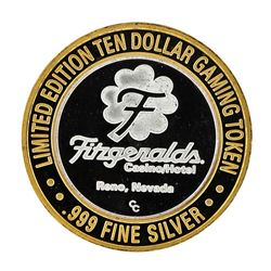 .999 Silver Fitzgeralds Casino & Hotel $10 Limited Edition Gaming Token