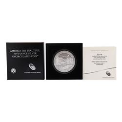 2014 5oz Silver ATB Great Smokey Mountain Tennessee Silver Proof Coin w/box