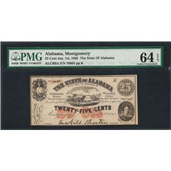 1863 25 Cent The State of Alabama Obsolete Note PMG Choice Uncirculated 64EPQ