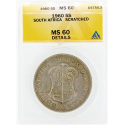 1960 South Africa 5 Shilling Coin ANACS MS60 Details