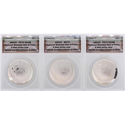 Lot of (3) 2014-P $1 National Baseball Hall of Fame Coin ANCAS Certified MS70/PR