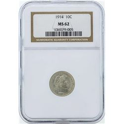 1914 Barber Silver Dime Coin NGC MS62