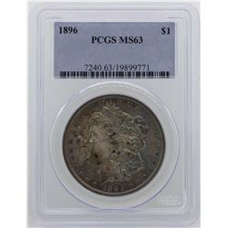 1896 $1 Morgan Silver Dollar Coin PCGS MS63 NICE TONING