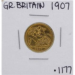 1907 Great Britain Edward VII 1/2 Sovereign Gold Coin