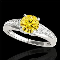 1.4 CTW Certified Si/I Fancy Intense Yellow Diamond Solitaire Ring 10K White Gold - REF-218K2W - 350