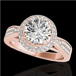 1.65 CTW H-SI/I Certified Diamond Solitaire Halo Ring 10K Rose Gold - REF-180K2W - 34406