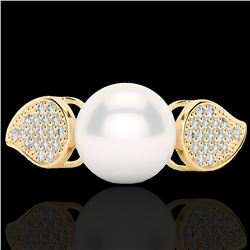 0.27 CTW Micro Pave VS/SI Diamond & Pearl Designer Ring 18K Yellow Gold - REF-45H3A - 22645