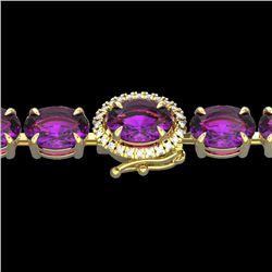 29 CTW Amethyst & VS/SI Diamond Tennis Micro Pave Halo Bracelet 14K Yellow Gold - REF-117K3W - 23414