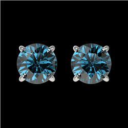 1.03 CTW Certified Intense Blue SI Diamond Solitaire Stud Earrings 10K White Gold - REF-87X2T - 3659