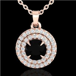 1 CTW Micro Pave VS/SI Diamond Necklace Double Halo 14K Rose Gold - REF-58T2M - 21536