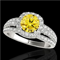 2.25 CTW Certified Si/I Fancy Intense Yellow Diamond Solitaire Halo Ring 10K White Gold - REF-316T4M