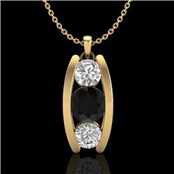 1.07 CTW Fancy Black Diamond Solitaire Art Deco Stud Necklace 18K Yellow Gold - REF-94A5X - 37774