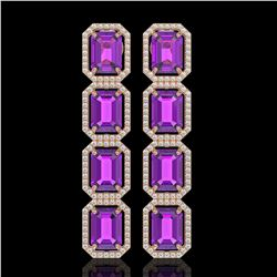 18.59 CTW Amethyst & Diamond Halo Earrings 10K Rose Gold - REF-177N8Y - 41610
