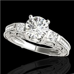 1.63 CTW H-SI/I Certified Diamond Solitaire Antique Ring 10K White Gold - REF-218F2N - 34648