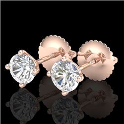 0.65 CTW VS/SI Diamond Solitaire Art Deco Stud Earrings 18K Rose Gold - REF-97M3H - 37296