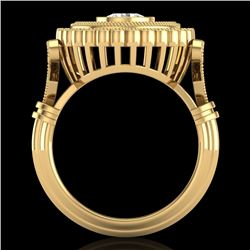 2.03 CTW VS/SI Diamond Solitaire Art Deco Ring 18K Yellow Gold - REF-270M2H - 37081
