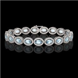 11.02 CTW Aquamarine & Diamond Halo Bracelet 10K White Gold - REF-258W8F - 40475