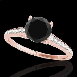 2 CTW Certified VS Black Diamond Solitaire Ring 10K Rose Gold - REF-76T4M - 34857