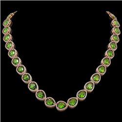 33.6 CTW Peridot & Diamond Halo Necklace 10K Rose Gold - REF-675M3H - 41214