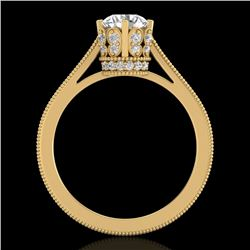 1.14 CTW VS/SI Diamond Art Deco Ring 18K Yellow Gold - REF-220F5N - 36829