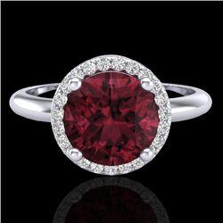 2.70 CTW Garnet & Micro Pave VS/SI Diamond Ring Designer Halo 18K White Gold - REF-49K3W - 23211