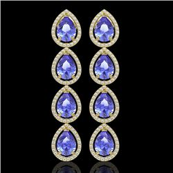 11.2 CTW Tanzanite & Diamond Halo Earrings 10K Yellow Gold - REF-286W9F - 41293