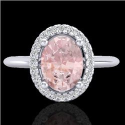 1.50 CTW Morganite & Micro VS/SI Diamond Ring Solitaire Halo 18K White Gold - REF-68W4F - 21015