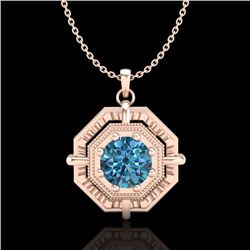 0.75 CTW Fancy Intense Blue Diamond Solitaire Art Deco Necklace 18K Rose Gold - REF-121X8T - 37461