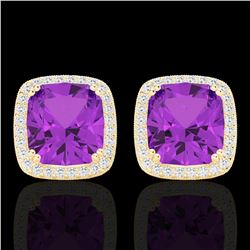 6 CTW Amethyst & Micro Pave VS/SI Diamond Halo Solitaire Earrings 18K Yellow Gold - REF-77H3A - 2279