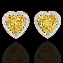 2 CTW Citrine & Micro Pave VS/SI Diamond Earrings Heart Halo 14K Rose Gold - REF-42Y4K - 21201