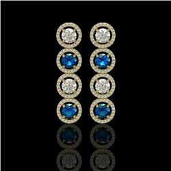 5.42 CTW Blue & White Diamond Designer Earrings 18K Yellow Gold - REF-685Y3K - 42595