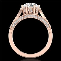 2.2 CTW VS/SI Diamond Art Deco Ring 18K Rose Gold - REF-725X5T - 37239