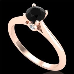 0.56 CTW Fancy Black Diamond Solitaire Engagement Art Deco Ring 18K Rose Gold - REF-52W8F - 38186