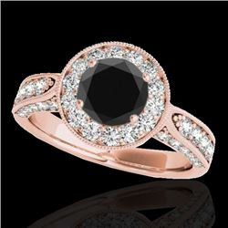 2 CTW Certified VS Black Diamond Solitaire Halo Ring 10K Rose Gold - REF-107N5Y - 34499