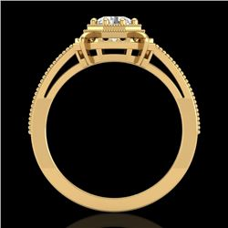 0.53 CTW VS/SI Diamond Art Deco Ring 18K Yellow Gold - REF-136N4Y - 36871